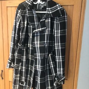 Black and White Plaid Pea Jacket